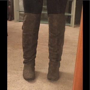 Flat thigh high boots